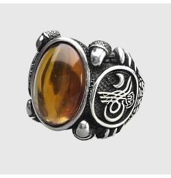 Bakalit Kehribarı Taşlı Gümüş Yüzük 15,4gr Çay Rengi