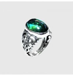Açık Yeşil Ateş Kehribar Taşlı Gümüş Yüzük