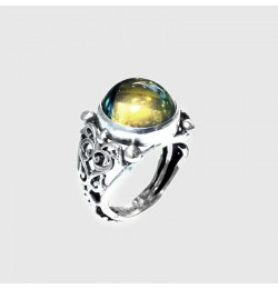 Bakalit Kehribarı Taşlı Mavi Yeşil Küre Gümüş Yüzük