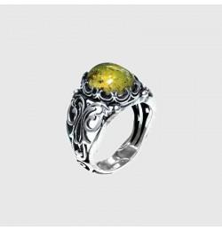 Doğal Fosilli Kehribar Taşlı Gümüş Yüzük