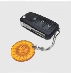 Zar Kehribar Volkswagen İşlemeli 925 Ayar Gümüşlü Anahtarlık