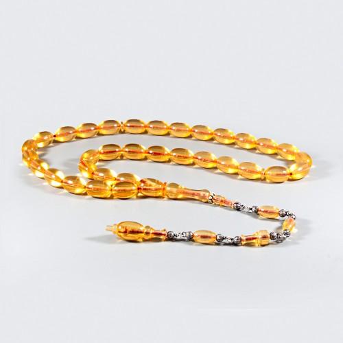 Bakalit Kehribar Tesbih (zar) 9x14mm Sarı Şeffaf 80