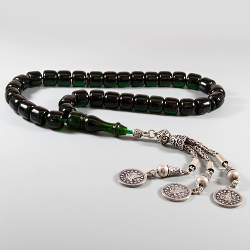 Bakalit Kehribar Tesbih Osmanlı Hamur Koyu Yeşil  10,5*9,5mm 85