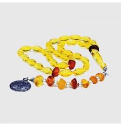Damla doğal kehribar tesbih (Sarı renk)