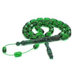 Bakalite Kehribarı Tesbih Koyu yeşil kapsül 9x14mm