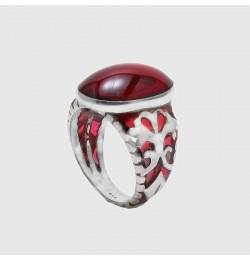 Kırmızı Bakalit saraylı Yüzük El İşçiliği 925 Ayar Gümüş