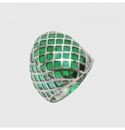 Yeşil Bakalit Uygulama Saraylı 925 Ayar Gümüş Yüzük