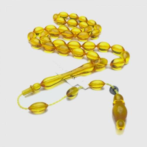 Şeffaf Sarı Sıkma Kehribar 7x11mm El İşçiliği