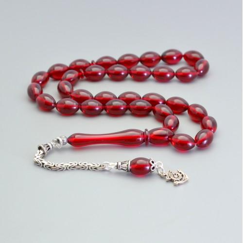 Sıkma Kehribar Tesbih 7*11mm Kırmızı Arpa Kesim, Gümüş Püskül 236