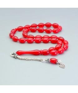 Sıkma Kehribar Tesbih 7*11mm Kırmızı Arpa Kesim, Gümüş Püskül 237