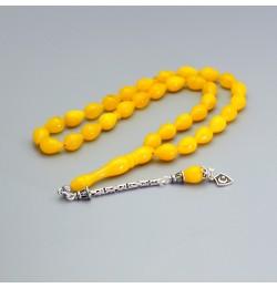 Sıkma Kehribar Tesbih 7*11mm Sarı Su Damlası Kesim, Gümüş Püskül 238