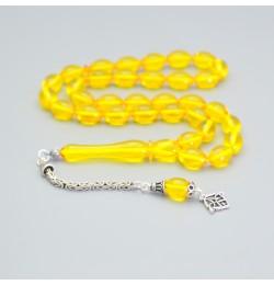 Sıkma Kehribar Tesbih 7*11mm Sarı Arpa Kesim, Gümüş Püskül 240