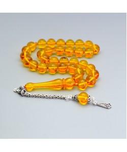 Sıkma Kehribar Tesbih 9mm Sarı Küre Kesim, Gümüş Püskül 241