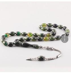 Sıkma Kehribar Tesbih 7*11mm Yeşil Arpa Kesim, Gümüş Püskül 250