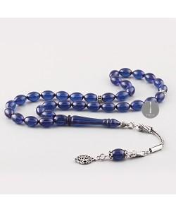 Sıkma Kehribar Tesbih 7*11mm -Mavi- Arpa Kesim, Gümüş Püskül 255