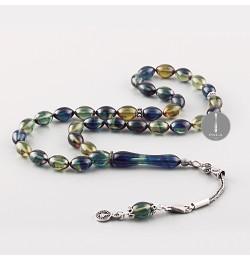Sıkma Kehribar Tesbih 7*11mm -Mavi- Yeşil-Arpa Kesim, Gümüş Püskül 258