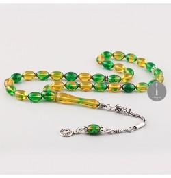 Sıkma Kehribar Tesbih 7*11mm -Sarı-Yeşil-Arpa Kesim, Gümüş Püskül 260