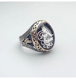 İsme Özel Mine Üzerine 925 Ayar Gümüş Yüzük 01