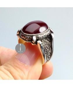 Osmanlı Sıkma Kehribar Taşlı Gümüş Yüzük 12,6gr