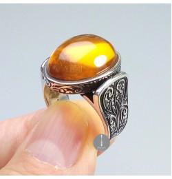 Osmanlı Sıkma Kehribar Taşlı Gümüş Yüzük 11,6gr