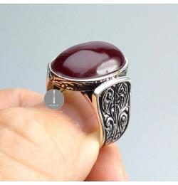 Osmanlı Sıkma Kehribar Taşlı Gümüş Yüzük 13,3gr