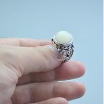 Beyaz Akik Doğal Taşlı Gümüş Yüzük