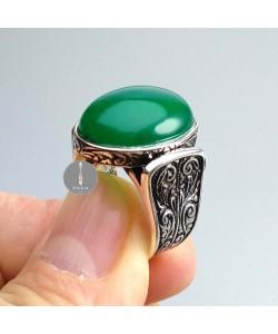 Yeşil Akik Taşlı Gümüş Yüzük 13,0 gr